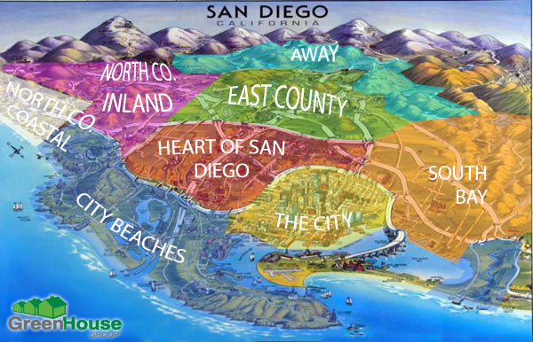 The 8 different areas in San Diego