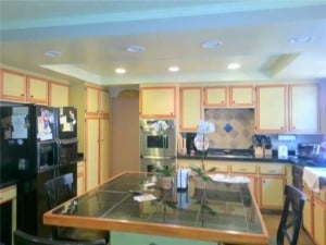a shot of the before- kitchen facelift