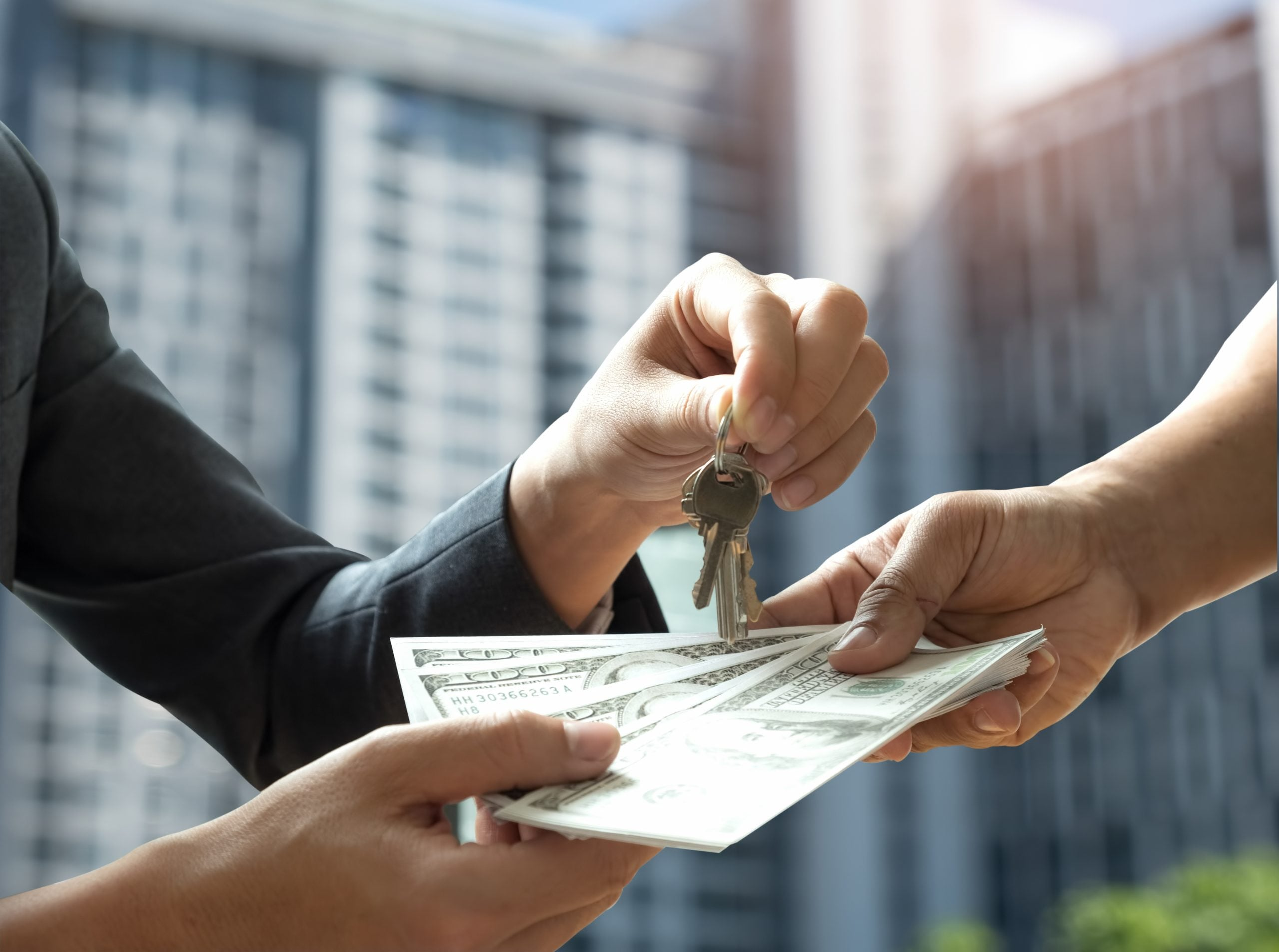 Real estate trading,Hand people are paying the dollar with other